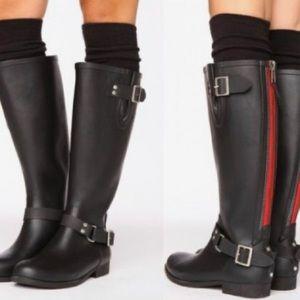 STEVE MADDEN Tsunami Black & Red Rain Boots-Sz 10